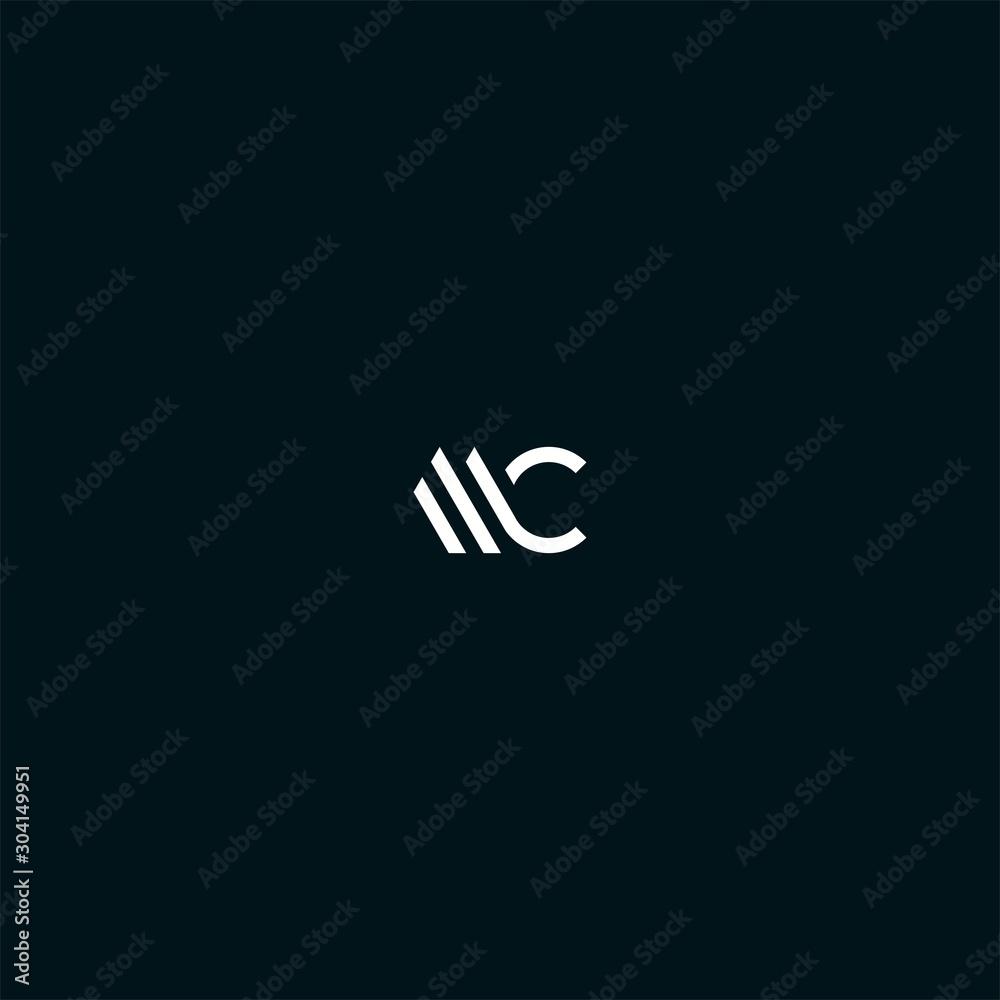 Fototapeta MC CM initial logo design vector
