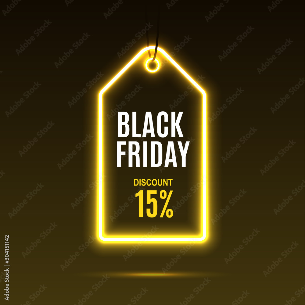Fototapeta Neon label. Black friday at a discount. EPS10 vector.