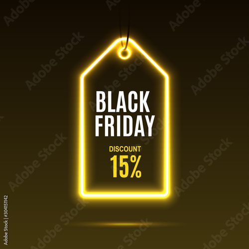 Obraz Neon label. Black friday at a discount. EPS10 vector. - fototapety do salonu