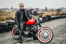 Red Motorbike With Rider. A Ma...