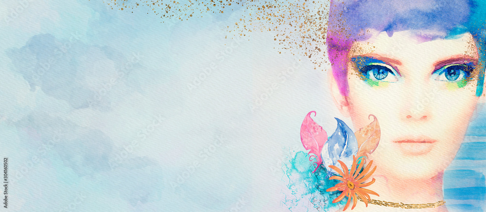 Fototapety, obrazy: Watercolor abstract portrait of girl. Fashion background.