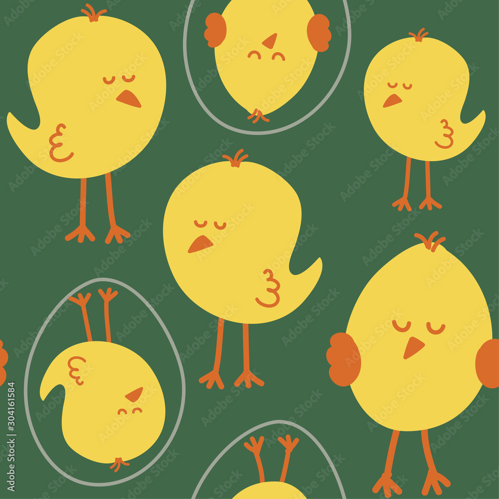 Little chicks pattern - funny hand drawn doodle, seamless pattern. Lettering poster or t-shirt textile graphic design. / wallpaper, wrapping paper, background.