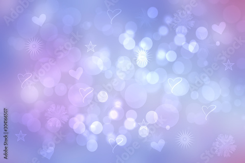 Abstract festive blur bright blue pastel background with pink hearts love bokeh and stars for wedding card or Valentines day.  Romantic textured backdrop with space for your design. Card concept.