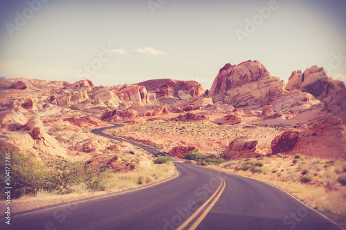 Foto op Canvas Crimson Beautiful desert road through Valley of Fire State Park in Nevada