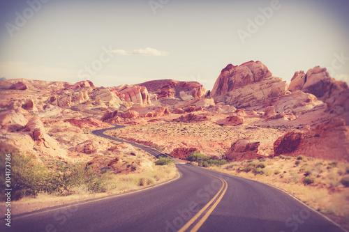 Deurstickers Crimson Beautiful desert road through Valley of Fire State Park in Nevada
