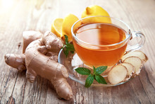 Ginger Tea With Lemon And Mint...
