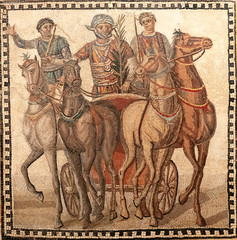 Fototapeta na wymiar roman mosaic with the winer