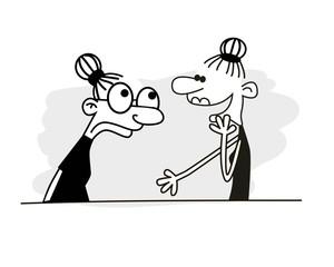 Two women talking. Bad habits. Vector illustration.