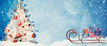 Christmas Time. Watercolor Banner