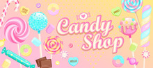 Candy Shop Welcome Banner With...
