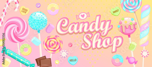 Fotografiet Candy shop welcome banner with sweets