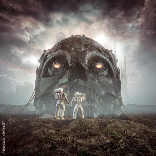 Foto auf Leinwand Schokobraun Giants of yesterday / 3D illustration of science fiction scene showing astronauts discovering ancient giant robot skull in the desert outside alien city