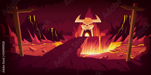Hell landscape, cartoon vector illustration Poster Mural XXL