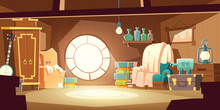 House Attic With Old Furniture, Cartoon Vector Background. Attic Interior In Wooden House With Round Window Under Roof, Day Sunlight On Floor And Retro Furniture With Wardrobe, Chair, Storage Boxes