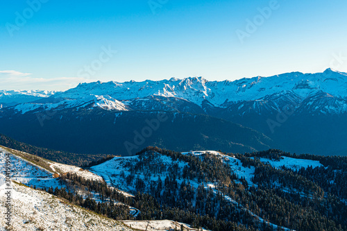 Snow covered beautiful mountain peaks #304193904