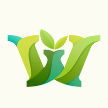 Swirling Letter W Logo With Green Leaves.