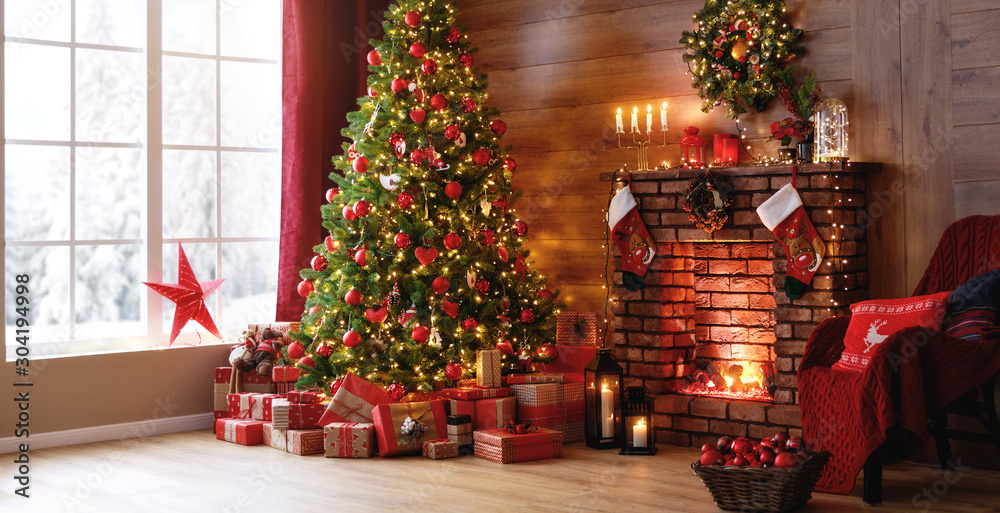 Fototapety, obrazy: interior christmas. magic glowing tree, fireplace, gifts