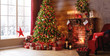 canvas print picture - interior christmas. magic glowing tree, fireplace, gifts