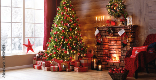 Poster Countryside interior christmas. magic glowing tree, fireplace, gifts
