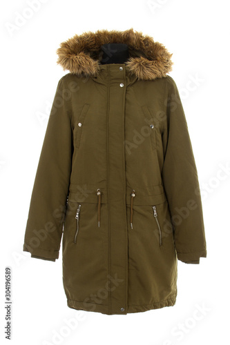 green parka jacket isolated Canvas Print