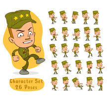 Cartoon Funny Army Soldier Boy...