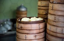 Fresh Baozi In Bamboo Steamer ...