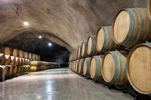 Photographie wine barrels in cellar