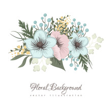 Floral Border Background - Pink And Mint Green Flower Pattern