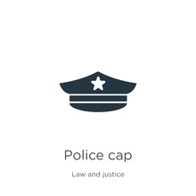 Police Cap Icon Vector. Trendy Flat Police Cap Icon From Law And Justice Collection Isolated On White Background. Vector Illustration Can Be Used For Web And Mobile Graphic Design, Logo, Eps10