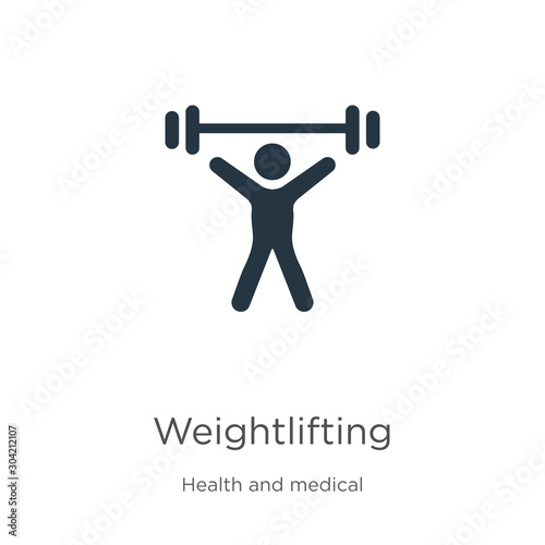 Fototapeta Weightlifting icon vector. Trendy flat weightlifting icon from health collection isolated on white background. Vector illustration can be used for web and mobile graphic design, logo, eps10 obraz