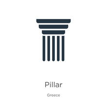 Pillar Icon Vector. Trendy Fla...