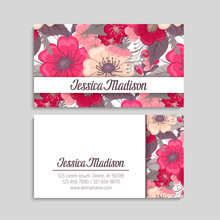 Flower Business Cards Hot Pink...