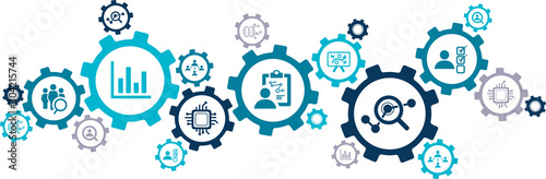 Fototapeta hr analytics icon concept: aspects of talent analytics / HR insights / human res