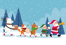 Merry Christmas Card With Characters Playing Instruments