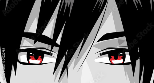 face young man monochrome anime style character - 304222985