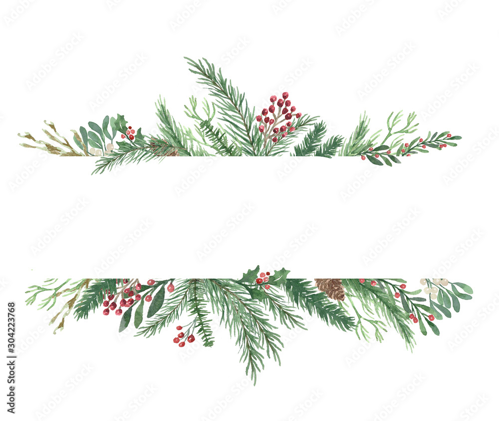 Fototapety, obrazy: Watercolor Winter Christmas bouquet with foliage, flowers, and berries