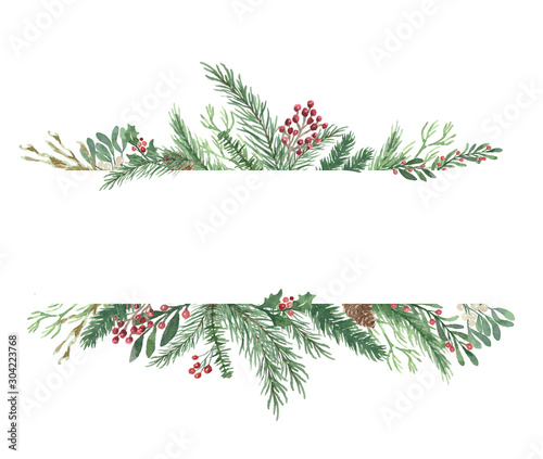 Watercolor Winter Christmas bouquet with foliage, flowers, and berries - 304223768