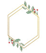 canvas print picture Watercolor Winter Christmas floral bouquet with gold foil geometric frame