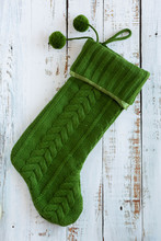 Green Knit Christmas Stocking