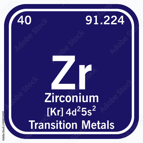 Zirconium Periodic Table of the Elements Vector illustration eps 10 Fototapet