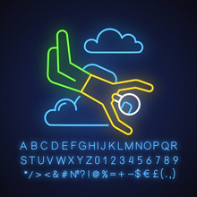 Skydiving Neon Light Icon. Sky...
