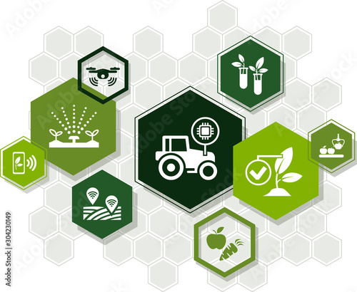 Obraz e-agriculture icon concept: smart farming / ict technology in agriculture / farm automation – vector illustration - fototapety do salonu