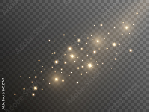 Shining gold dust on transparent background. Christmas magic lights template. Abstract golden sparks. Luxury sparkling stars with yellow dust. Vector illustration