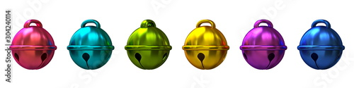 Cuadros en Lienzo  Set of colorful Christmas sleigh bells 3D
