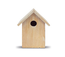 Ornament. Front Image Of Birdhouse In Nature Wood. Round Hole.  Handmade. Conceptual And Minimalist Decoration