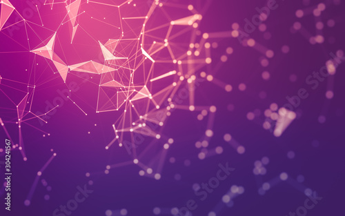 Abstract background. Molecules technology with polygonal shapes, connecting dots and lines. Connection structure. Big data visualization. - 304241567