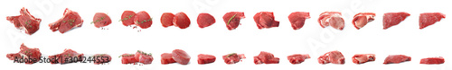 Fototapeta Set of fresh raw beef steaks isolated on white. Banner design obraz