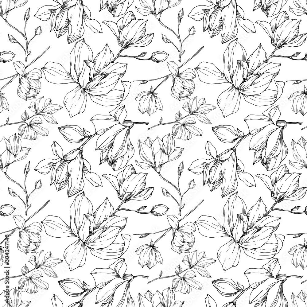 Fototapeta Vector Magnolia floral botanical flowers. Black and white engraved ink art. Seamless background pattern.