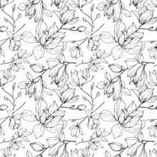 Vector Magnolia Floral Botanical Flowers. Black And White Engraved Ink Art. Seamless Background Pattern.