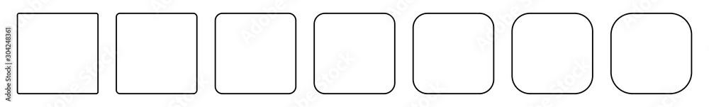 Fototapeta Square Icon Black | Round Squares | Foursquare Symbol | Frame Logo | Button Sign | Isolated | Variations